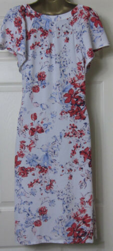 NEW M/&S Ladies Floral Print Tea Swing Summer Holiday Dress White Red Sz 8-20