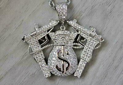 Details about  /0.15 ct Round Black /& White Sim Diamond Men/'s GUN Pendant in 925 Sterling Silver