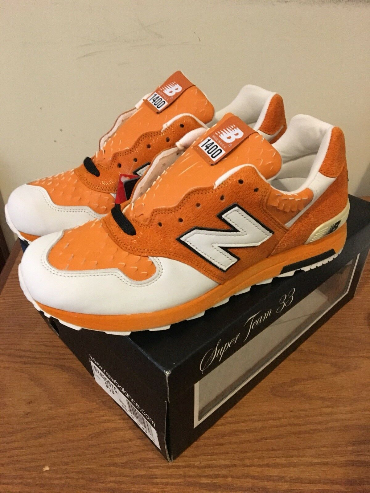 New Balance 1400 STC Clown Fish Super Team 33 orange Size 9.5 Made In USA New