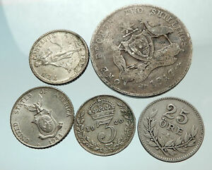 GROUP-LOT-of-5-Old-SILVER-Europe-or-Other-WORLD-Coins-for-your-COLLECTION-i75637