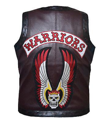 The Warriors Movie Bikers Motorcycle Rider Maroon Leather Vest Waist Coat