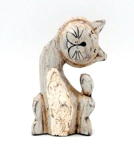 Chat gris en bois cérusé stylisé tête penchée sur le côté deco tendance