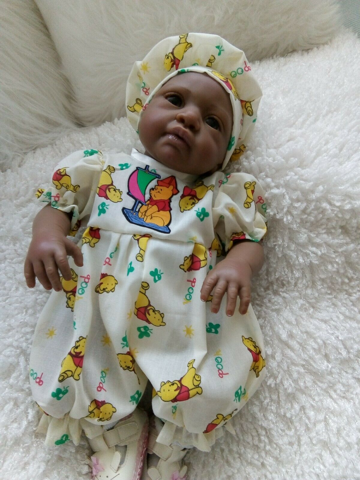 """Handmade clothes Romper and hat set-winne the pooh 18"""" reborn 0-3mths"""