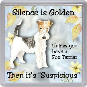 Wire-Fox-Terrier-Dog-Coaster-034-Silence-is-Golden-Unless-you-034-by-Starprint