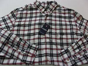 0be7603ceea2 NWT Mens $55 Chaps Nice White Black & Red Plaid Button Front Flannel ...