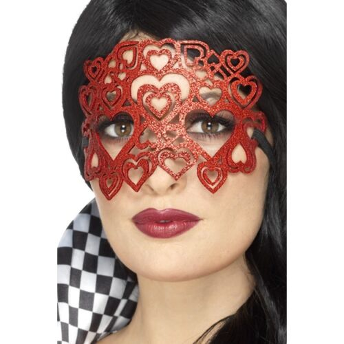 Red Glitter Eyemask Soft Lace Face Masquerade Adults Fancy Dress Accessory