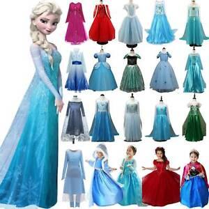 Mädchen Frozen 2 Elsa Prinzessin Kleider Die Eiskönigin Cosplay Kostüm Karneval