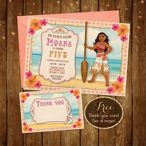 """Moana Birthday Invitation- Moana Hawaiian Invite - Digital Printable file - 5x7"""""""