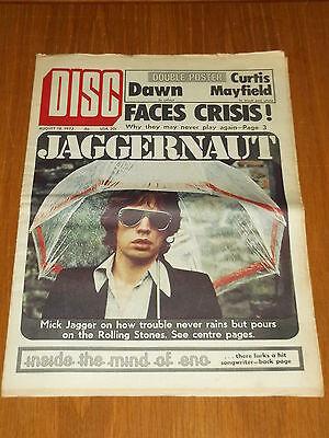 Gematigd Disc And Music Echo August 18 1973 Faces Mick Jagger Brian Eno Dawn Aangenaam Voor Het Gehemelte