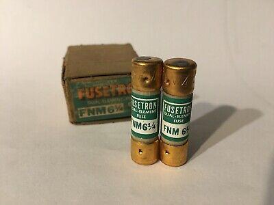 Bussman FNM-6-1//4  6-1//4A 250 volt Fusetron midget fuses  New