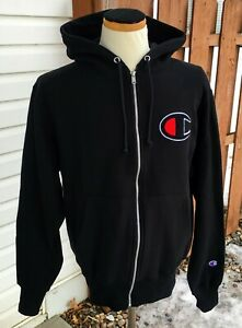 Champion-Hoodie-Sweatshirt-Reverse-Weave-Full-Zip-Black-Logo-NWT-New-Medium