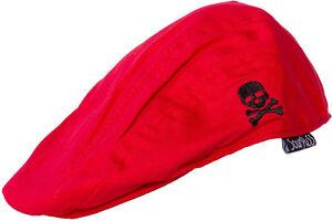 d5df34ddf 86360 Red Black Skull Crossbones Jeff Flat Cap Hat Sourpuss BABY ...