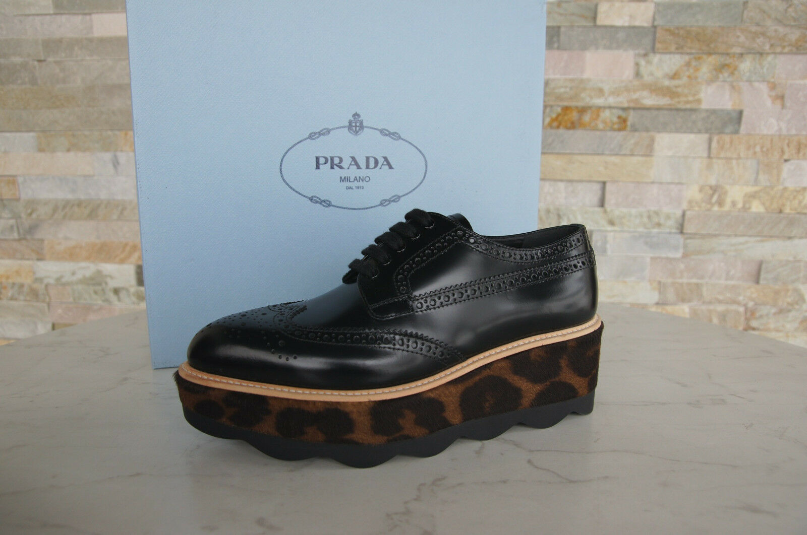 Prada Size 39 Platform Lace up 1E935G shoes Leopard Black New Formerly Rrp