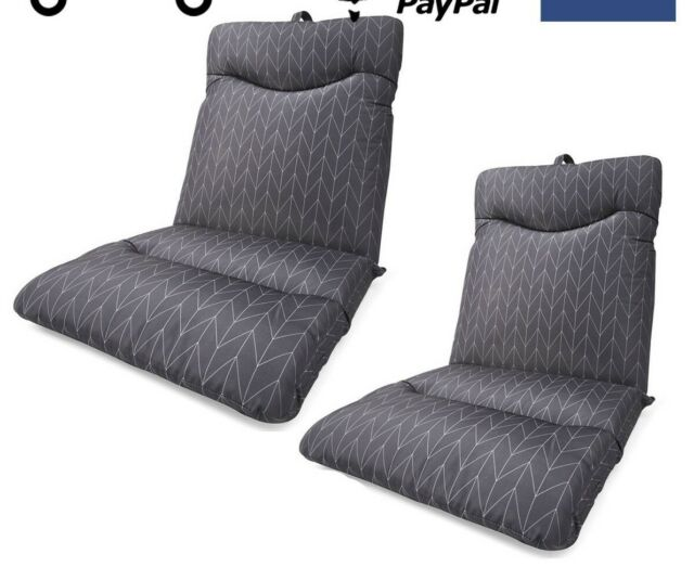 Set of 2 Grey Highback Cushion Outdoor Seat Lounge Patio Chair UV Resistant Pool