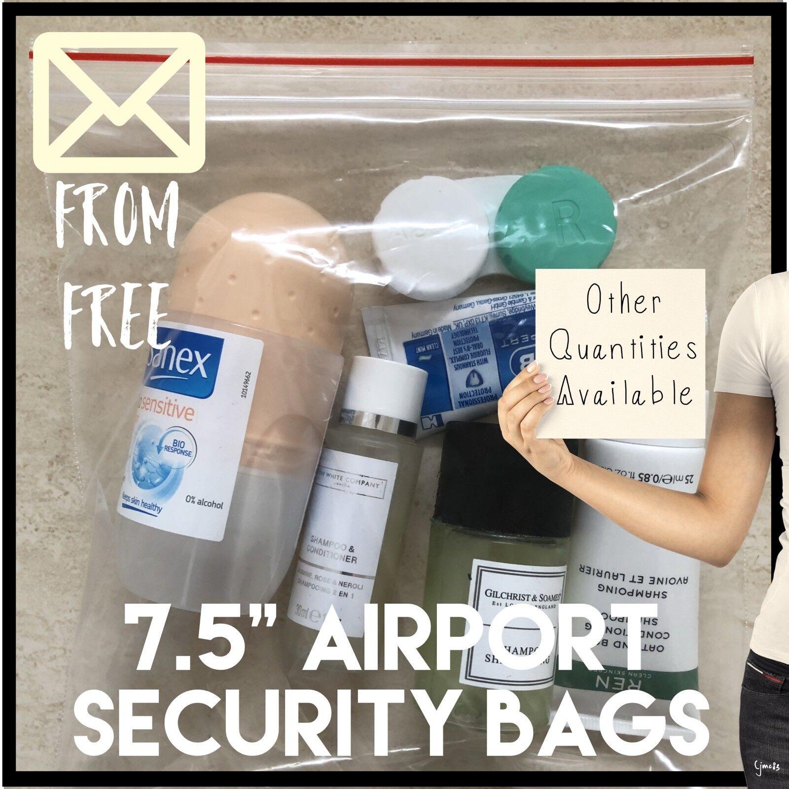 5 x Transparent plastique Vacances des sacs en plastique Transparent liquides pour avion de sécurité f05551