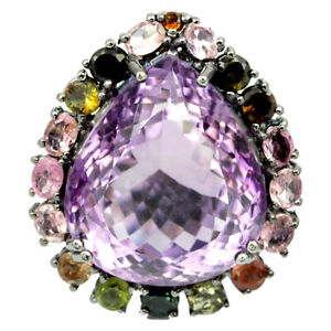 37-85-CT-NATURAL-AAA-PURPLE-AMETHYST-amp-TOURMALINE-STERLING-925-SILVER-RING-8-75