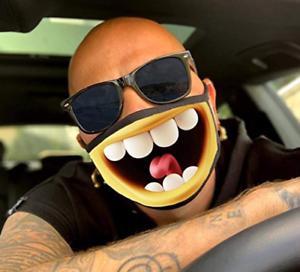 Mundschutz Maske lustiges Motiv Smiley Lachen Grinsen Lächeln gelb