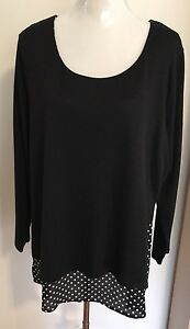 Plus-Size-20-Black-And-White-3-4-Sleeve-Comfy-Tunic-With-Polka-Dot-Hem