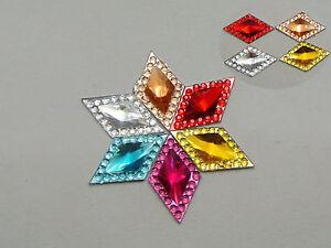200-Mixed-Color-Acrylic-Flatback-Rhombus-Rhinestone-Gems-16X10mm-Cone-Center