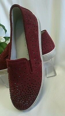 DAMEN SCHUHE Slipper GR 40 MADE IN ITALY Mokassins LEDER Bordeaux Strasssteine
