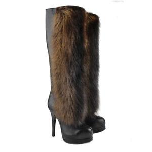 Thomas Wylde Black Leather Fur Trimmed Knee-High Platform Boots US7 UK4