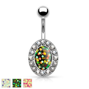 Surgical-Steel-Silver-Bellybutton-Piercing-Pendant-Oval-of-Opal-Imitation