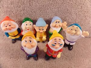 Disney's Seven Dwarfs Rubber Squeaks Figurines Toy Made In China & Hong Kong