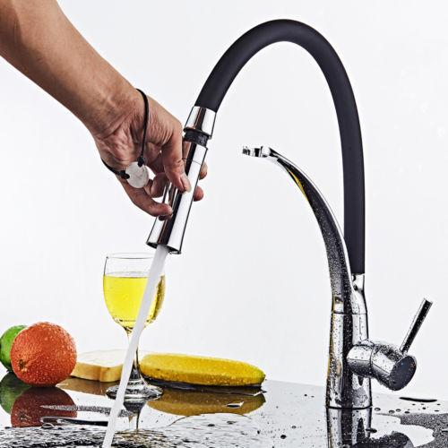 Küchenarmatur Wasserhahn 360° Ausziehbar Einhandmischer Mischbatterie Schwarz