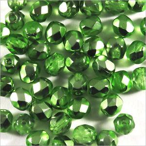 Lot-de-50-Perles-Facettes-en-Verre-de-Boheme-4mm-Vert-Metal
