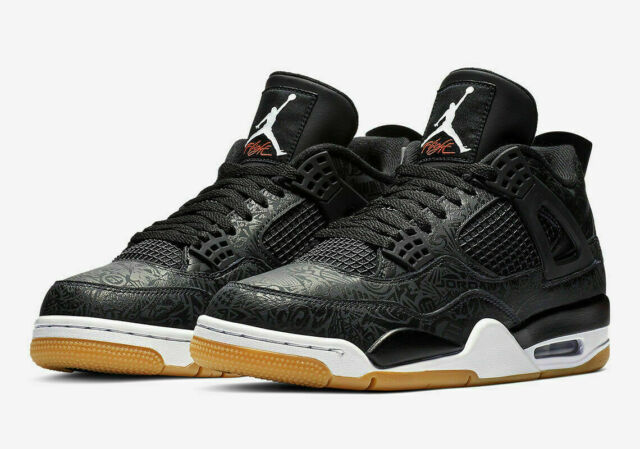 finest selection 244ac b1b71 Nike Air Jordan 4 Retro SE Laser Basketball Shoes Black White Gum  CI1184-001 NEW