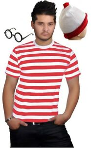 Homme-Neuf-Rouge-amp-Blanc-a-Rayures-Ras-du-Cou-Col-Rond-T-Shirt-Top-Toutes-Tailles-S-a-XXL