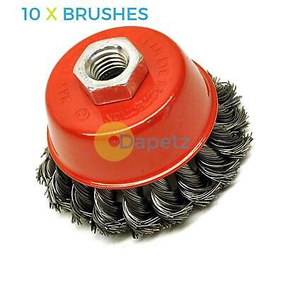 """Twist Knot Wire Wheel Cup Brush 3/"""" M14 For 4 1//2/"""" 115mm 9/"""" Angle Grinder 10 Pack"""