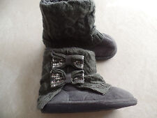 girls GRAY WINTER BOOTS fleece lined FANCY DRESSY sequins bows LOW size 11-12