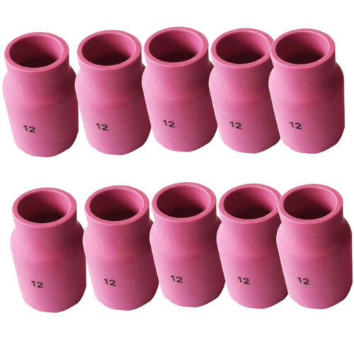 10pc 53N87 #12 TIG Ceramic Alumina Nozzle Gas Lens for WP 17 18 26 Welding Part
