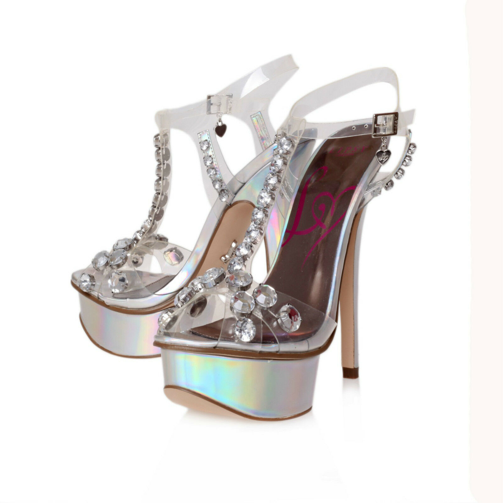 LIPSY STILETTO SHOES .. CLEAR & SILVER GEM .. SET /  UK 7    EU  40  NEW , BOXED