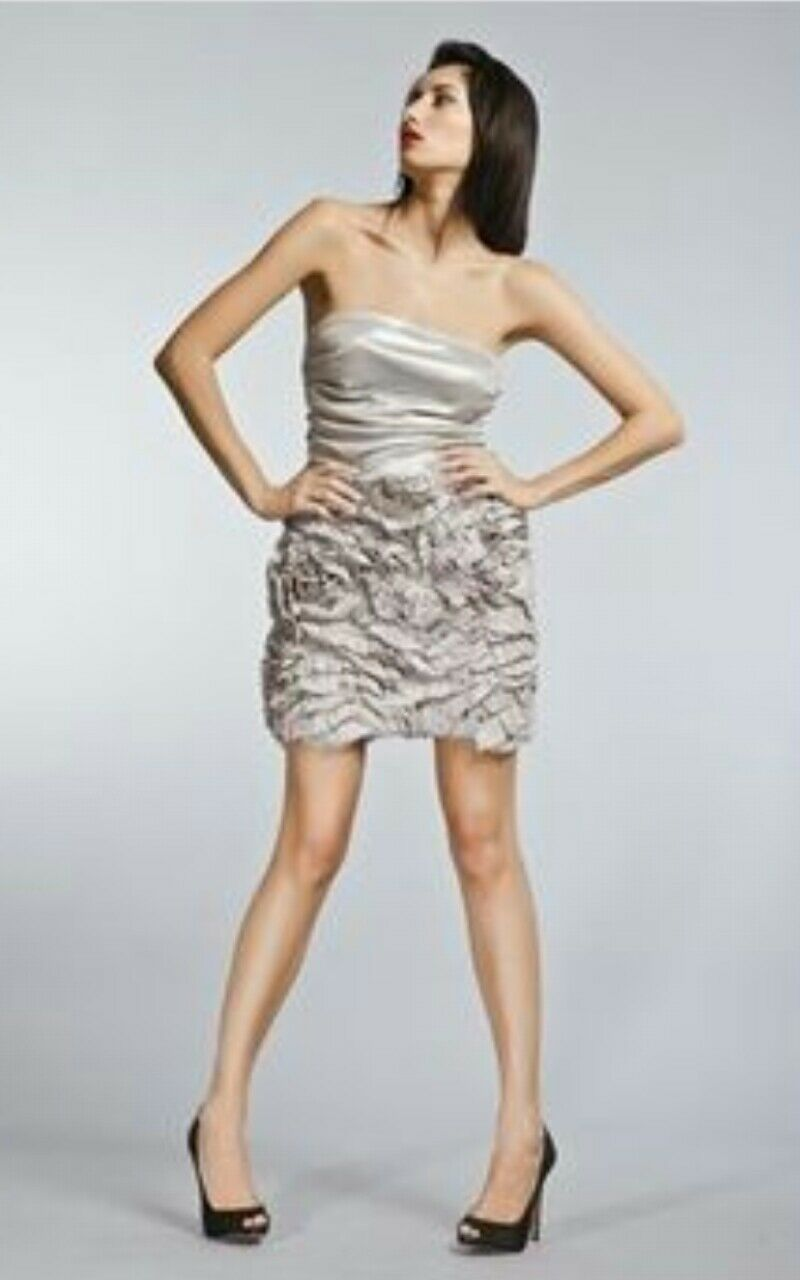 Mark + James Lame Ruffle Dress Mini Strapless by Badgley Mischka Size 0