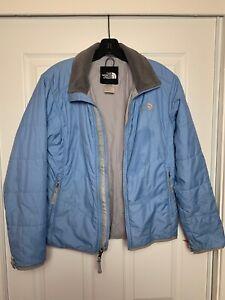 The-North-Face-Light-Blue-Gray-Zip-Up-Rain-Coat-Jacket-Women-s-Size-SMALL