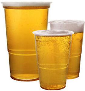 50-x-transparent-plastique-jetables-COMPLET-Pinte-verres-a-biere-tasses-kcc10p