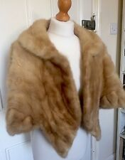 VINTAGE LADIES 1960s COCKTAIL HONEY MINK FUR CAPE/JACKET/STOLE/WRAP/S/M 8-12
