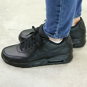Details zu Nike Air Max 90 Leather (GS) Schuhe Leder Sneaker Kinder Damen Schwarz