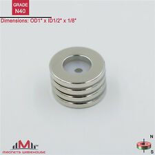 "4-count neodymium N40 NdFeb ring magnets 1""OD x 1/2"" ID x 1/8"" T (true N40)"