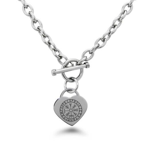 Necklace Stainless Steel Icelandic Viking Rune Symbol Heart Charm Bracelet Set