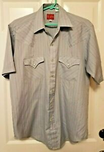Vintage-Plains-Western-Wear-Mens-Pearl-Snap-Short-Sleeve-Striped-Shirt-Medium