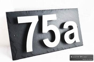 Dekoration Modestil Hausnummerschild Hausnummer Edelstahl Design V2a Mit Wunschnummer Auf Schiefer Heller Glanz