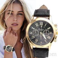 Damen Armbanduhren Geneva Roman Uhr Numerals Faux Leder Analoguhr Quartz Watch