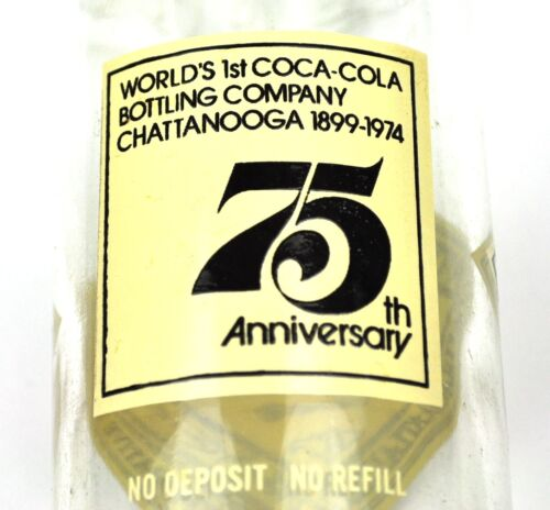 Coca-Cola Chattanooga Bottling USA Coke Bouteille 1974-75th Anniversaire