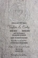 Wedding Invitations Grey Texture Heart Rustic Country 50 Invitations & RSVP Card