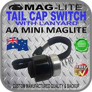 MINI-MAGLITE-UPGRADE-AA-INCANDESCENT-TAIL-CAP-SWITCH-W-LANYARD-PUSH-BUTTON-BLACK