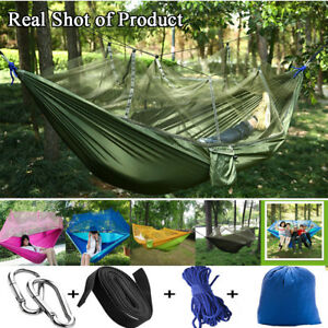 New-Double-Outdoor-Person-Travel-Camping-Hanging-Hammock-Bed-Wi-Mosquito-Net-Set