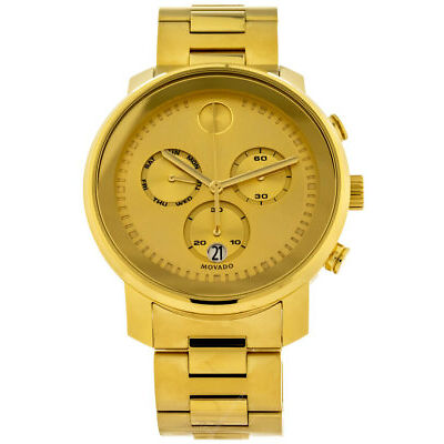MOVADO Bold Chronograph 48mm Yellow Gold-Tone Dial Men's Watch 3600485